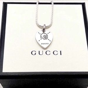 New Gucci Ghost Heart Skull Charm + Free Chain